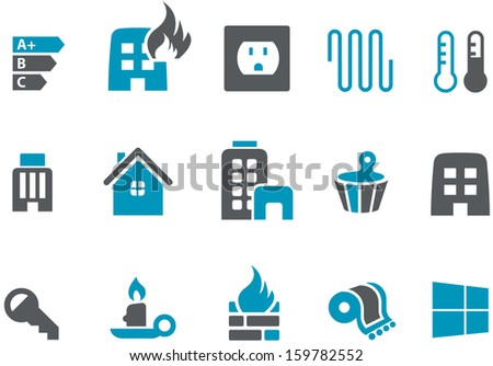 Vector icons pack - Blue Series, home collection  - stock vector
