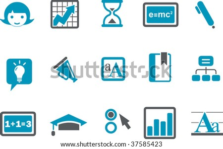 Vector icons pack - Blue Series, learning collection - stock vector