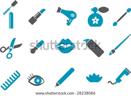 Vector icons pack - Blue Series, make-up collection - stock vector