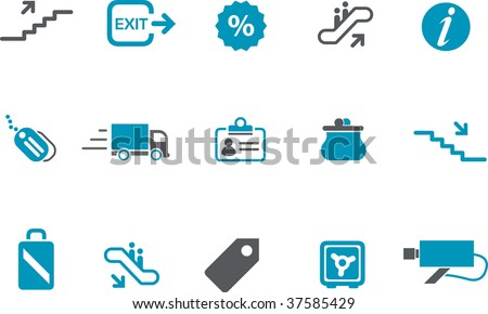 Vector icons pack - Blue Series, mall collection - stock vector