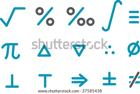 Vector icons pack - Blue Series, math collection - stock vector