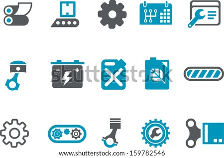Vector icons pack - Blue Series, mechanic collection  - stock vector