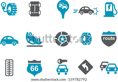 Vector icons pack - Blue Series, road collection  - stock vector
