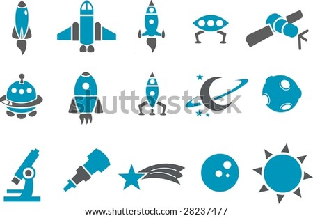 Vector icons pack - Blue Series, space collection - stock vector