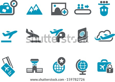 Vector icons pack - Blue Series, travel collection  - stock vector