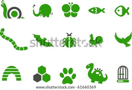 Vector icons pack - Green Series, animals collection - stock vector