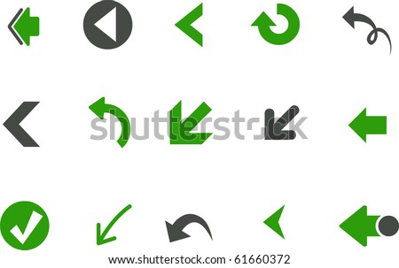 Vector icons pack - Green Series, arrows collection - stock vector