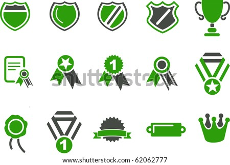 Vector icons pack - Green Series, badges collection - stock vector