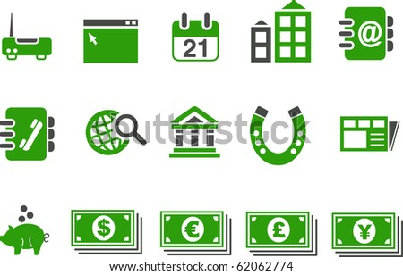 Vector icons pack - Green Series, business collection - stock vector