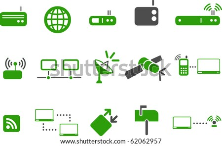 Vector icons pack - Green Series, communication collection