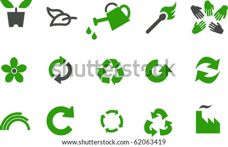 Vector icons pack - Green Series, eco collection - stock vector