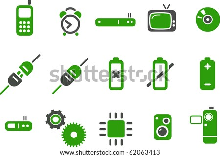 Vector icons pack - Green Series, electronic collection - stock vector