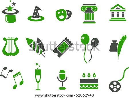 Vector icons pack - Green Series, Entertainment collection - stock vector