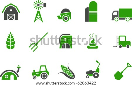 Vector icons pack - Green Series, farm collection - stock vector