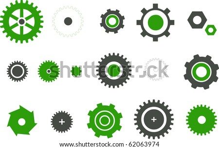 Vector icons pack - Green Series, gear collection - stock vector