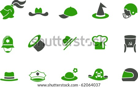 Vector icons pack - Green Series, hat collection - stock vector