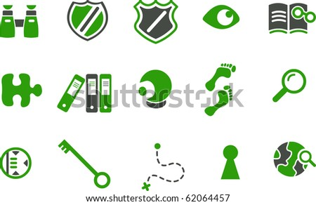 Vector icons pack - Green Series, investigation collection - stock vector