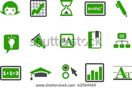 Vector icons pack - Green Series, learning collection - stock vector
