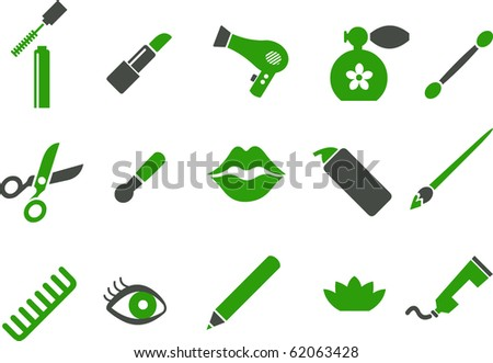 Vector icons pack - Green Series, make-up collection - stock vector