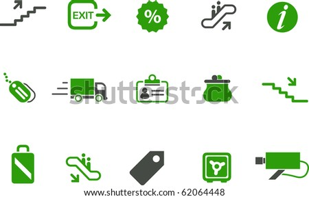 Vector icons pack - Green Series, mall collection - stock vector