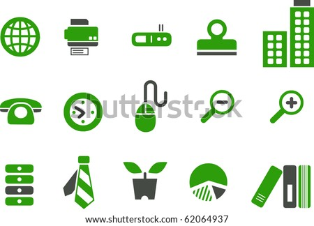 Vector icons pack - Green Series, office collection - stock vector