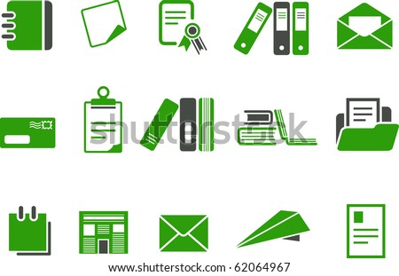 Vector icons pack - Green Series, paper collection - stock vector