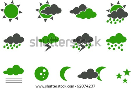 Vector icons pack - Green Series, weather collection - stock vector