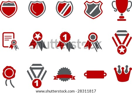 Vector icons pack - Red Series, badges collection - stock vector