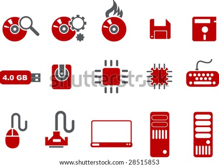 Vector icons pack - Red Series, computer collection