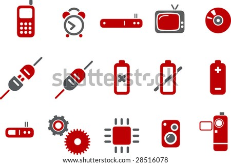Vector icons pack - Red Series, electronic collection - stock vector