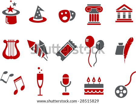 Vector icons pack - Red Series, entertainment and art collection - stock vector