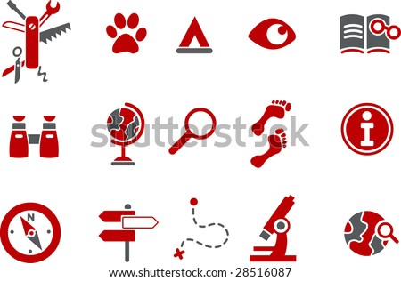 Vector icons pack - Red Series, exploration collection - stock vector