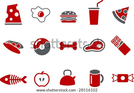 Vector icons pack - Red Series, food collection - stock vector