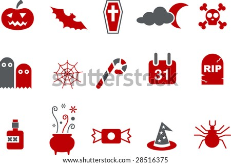 Vector icons pack - Red Series, halloween collection - stock vector