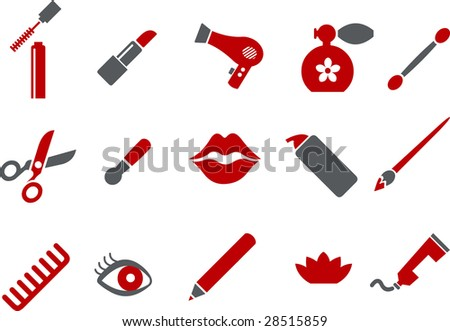 Vector icons pack - Red Series, make-up collection - stock vector
