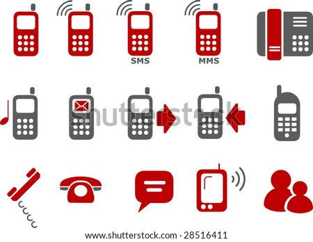Vector icons pack - Red Series, phones collection - stock vector
