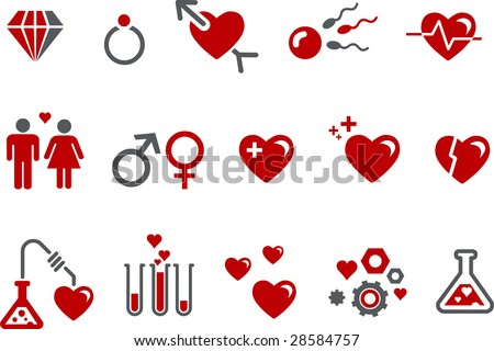 Vector icons pack - Red Series, s.valentine collection - stock vector