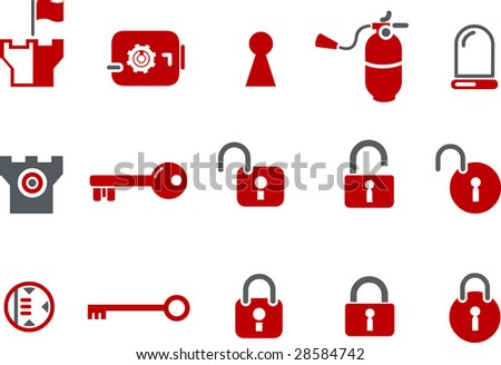 Vector icons pack - Red Series, security collection - stock vector