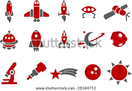 Vector icons pack - Red Series, space collection - stock vector