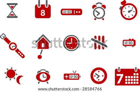 Vector icons pack - Red Series, time collection - stock vector