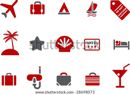 Vector icons pack - Red Series, vacation collection
