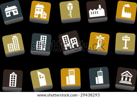 Vector icons pack - Yellow-Brown-Blue Series, city collection - stock vector