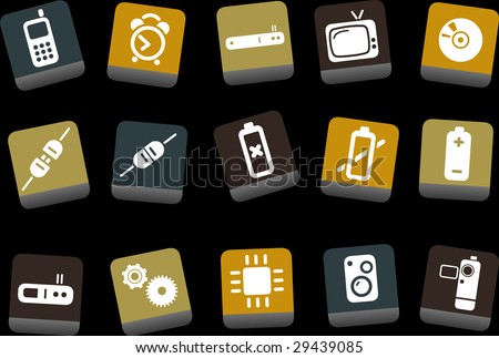 Vector icons pack - Yellow-Brown-Blue Series, electronic collection - stock vector