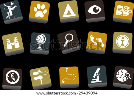 Vector icons pack - Yellow-Brown-Blue Series, exploration collection - stock vector