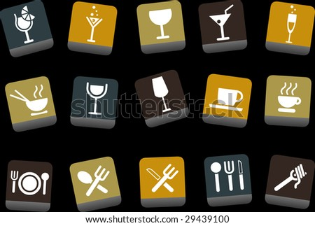 Vector icons pack - Yellow-Brown-Blue Series, food collection - stock vector