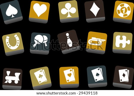 Vector icons pack - Yellow-Brown-Blue Series, game collection
