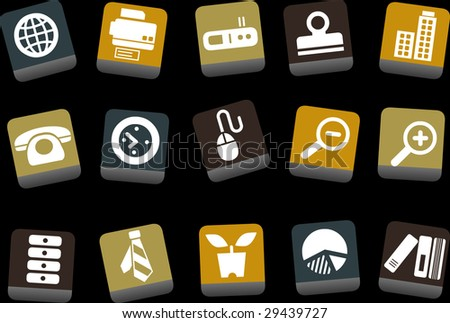 Vector icons pack - Yellow-Brown-Blue Series, office collection - stock vector