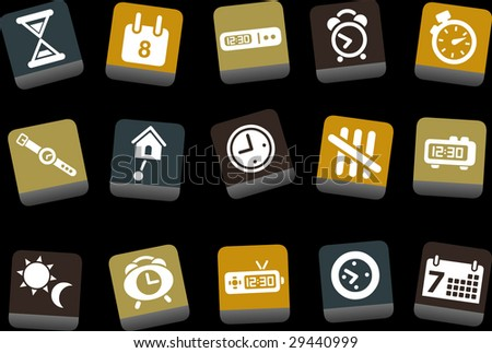 Vector icons pack - Yellow-Brown-Blue Series, time collection