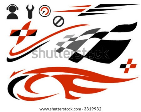 vector icons related to speed and racing - stock vector