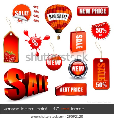 vector icons: Sale! - 12 red items - stock vector